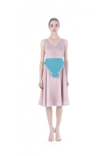Midi dress with waist panel