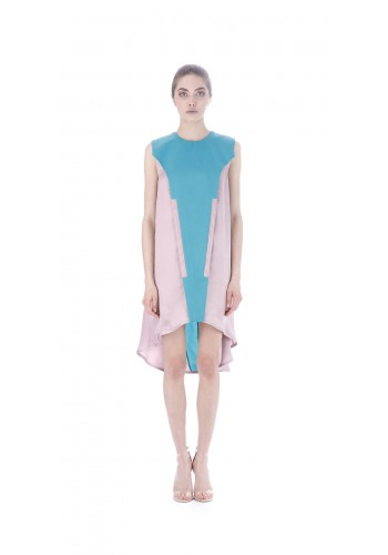 Flared dress with front panel