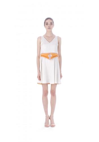 Short dress with waist panel