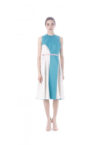 Midi dress with asymmetric element