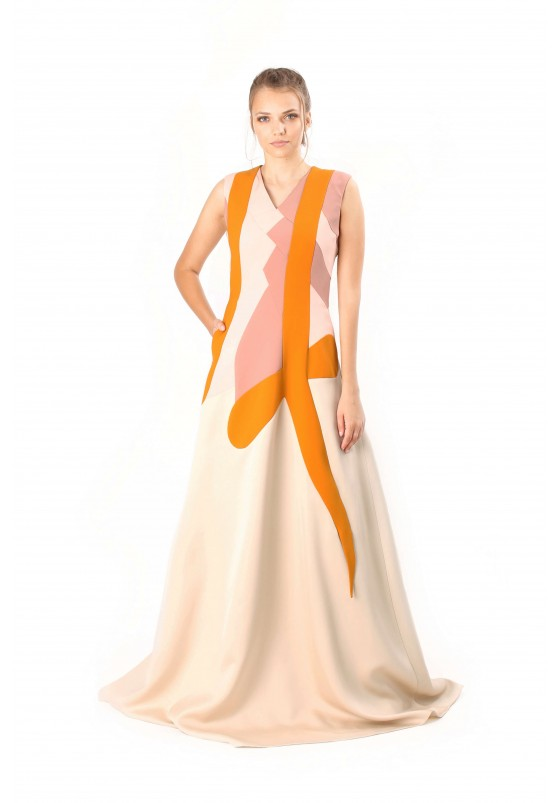 PATCHWORK DESIGN LONG DRESS
