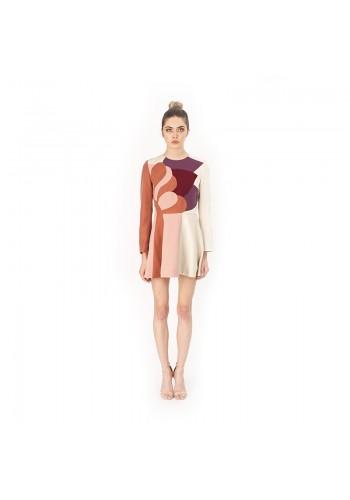 PATCHWORK DESIGN SHORT DRESS LIGHT PINK
