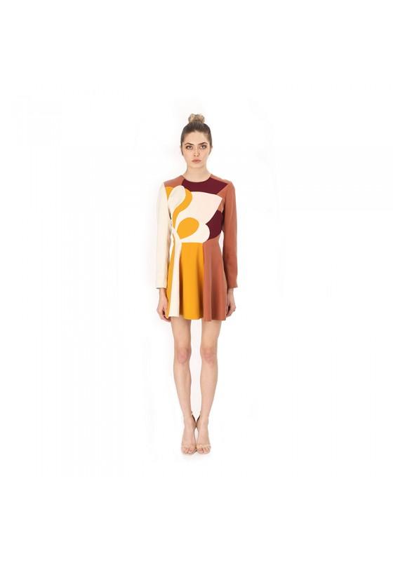PATCHWORK DESIGN SHORT DRESS RUST
