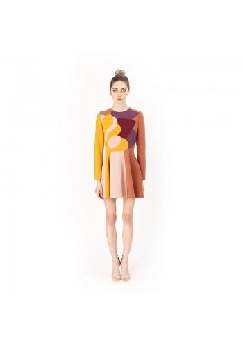 PATCHWORK DESIGN SHORT DRESS YELLOW