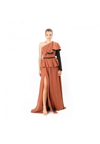 FLARED SHOULDER LONG DRESS