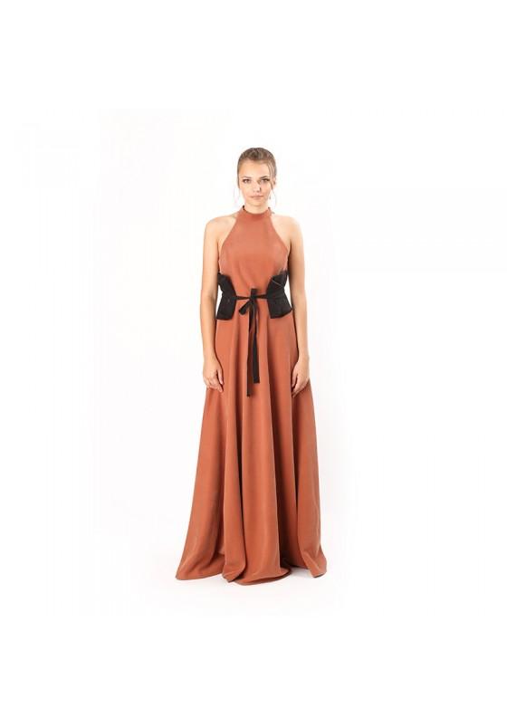 WAIST DESIGN LONG DRESS