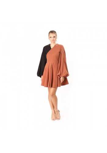 PLEATED SHOULDER DRESS