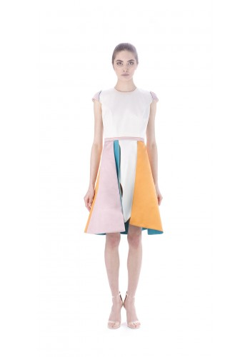 Dress with colorful individual panels